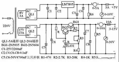图中电阻r4,稳压管tl431,电位器r3组成一个连续可调得恒压源,为bg2